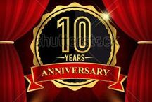 anniversary logo gold colored with curtain background / http://www.shutterstock.com/cat.mhtml?gallery_id=3810161