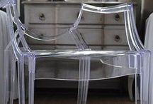 Ghost chairs  / Ghost chairs are fabulous, use them in any style interiors from country to ultra modern.  A great chair to have with limited space or if you don't want bulky looking chairs.  Great for a small office or dining room.