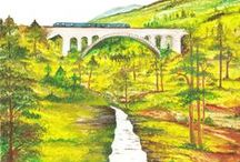 Watercolors / Watercolors about trains, train routes, railway lines. Acuarelas de trenes, rutas o líneas ferroviarias.