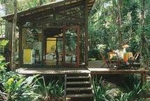Our Beach Cabana / house on the beach, sunny, summer, tropical, ocean, palm trees, sunshine, surf, waves, home, home decor, wicker, rattan, outdoor shower, bright, deck