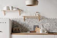 kitchen / Lots of clean, white, minimal kitchens; mostly with open wooden shelving.