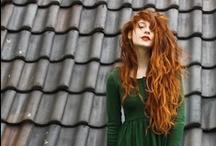 red hair green dress