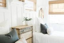Guest Room Decor / Welcoming and cozy guest bedroom décor in shades of white, cream, and gray.