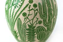 Sgraffito / These pins are some great ideas for scratching (sgraffito in Italian) underglaze from clay.