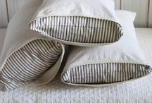 | farmhouse FABRICS & RUGS | / Curtains, rugs, throw pillows, drapes and ribbon. Linen, silk, velvet, ticking and monograms.