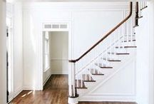 | farmhouse STAIRWAYS | / Wood staircases, sometimes a great runner, sometimes painted stairs. Always a stunning newel post. Decorating along and below stairs is tricky but important, study these stairways for inspiration.