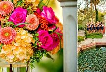 Prado Balboa Park Wedding - Tropical / Prado tropical inspired weddings, using vibrant colors in orange, pink and accent with a royal blue and gold.