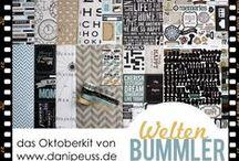 """Oktoberkit 2013 """"Weltenbummler"""" / #dpOktoberkit13 von www.danipeuss.de mit Papieren von Teresa Collins, Echo Park und Glitz, Stickers, Washi-Tape und Enamel Dots"""