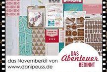 """November-Kit 2014 """" Das Abenteuer beginnt """" / Werke mit dem #dpNovemberkit14 von www.danipeuss.de mit Papieren und Embellishments von American Crafts (""""Shimelle""""), Studio Calico und Crate Paper sowie dem  Klartext Stempelset """"Du bist ein Genie"""""""