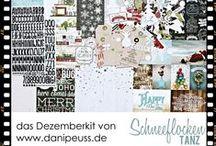 """Dezember-Kit 2014 """"Schneeflockentanz"""" / Werke mit dem #dpDezemberkit14 von www.danipeuss.de mit Papieren und Embellishments von Webster's Pages, Simple Stories, Pebbles, Teresa Collins und Pink Paislee"""