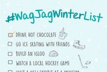 #WagJagWinterList / #WagJagWinterList is our bucket list for winter 2015, from hockey to crafts, to cultural events to hot chocolate, we want to check everything off our list! See our full list at WagJag.com/winterlist