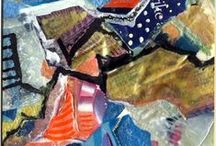 Lou Jordan Mixed Media Collage Creations / I love doing collage - so much inspiration for them every where you turn!  I'm fascinated by the texture, color mixes and ways of presenting them.