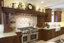 House: Kitchen Decor Hood Mantel / Great collection of ideas for decorating a kitchen hood mantel above the stove.