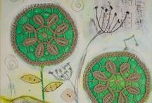 Doily Art by Teodora Paintings / A mother and daughter collaboration - creating mixed media paintings using my mother's doilies @Teodora Paintings