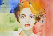 AndreaMerican.com Watercolor Figures / Paintings done in watercolor by Andrea Merican, local Arizona artist. For her full line of work, go to www.andreamerican.com