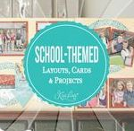 School-Themed Layouts, Cards & Projects / Scrapbooking Layouts, Projects, & Cards for your student, self, & teacher.  This includes 2-page School Layouts, Teacher Gifts, Teacher Cards, plus tons of ideas to get ready for school.