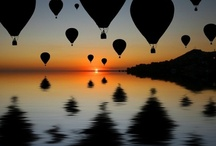 Up, up and away in my beautiful hot air balloon!! / hot air balloons in different shapes, sizes, and colors / by Robin Kauffman