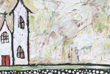 Art : Dwellings and City Scapes / In our home, let love abide and bless all who step inside.