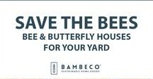Save the Bees: Bee & Butterfly Houses for your Yard / Help local populations thrive with Bee & Butterfly Houses from Bambeco. About 30% of the human food supply and 90% of wild plants depend on pollination from bees, the majority of which are native bees. Butterflies are also some of nature's most active pollinators—right behind bees. Providing a butterfly habitat filled with native blooms, a water source and ready spaces for butterflies to seek shelter will help attract more of them to your yard, and support a healthy eco-system.