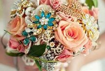 Wedding Bouquet Bling / Fun ways to accent your wedding bouquet with brooches and bling.