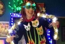 Ugly Christmas Sweaters / Deck the halls with tacky sweaters!  Also known as Ugly Christmas Sweaters, but gosh, isn't that a bit harsh?  Nowadays they're less tacky and more fashionable, plus simple to make DIY style on a budget. Scroll, click and learn, folks!