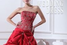 Colored Wedding Dress / Color Wedding Dresses: Color your wedding dress with shades of blush pink, red, black and more for a totally bold and fresh look. Wedding dresses with color can be great for a informal wedding for older brides. Some classy dresses with color would be chic for these weddings. bit.ly/custom-dress