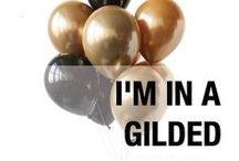 I'm in a GILDED mood. / Our 'Gilded', shiny, onyx black and classic gold balloon palette is perfect for NYE, Mickey Mouse and Over The Hill birthday parties. Designed by Luft Balloons in Chicago.