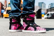 Python Super Shift high tops /  The upper features insane hot pink python embossed leather which has multiple shades of pink, black and snake scale details much like an actual python. Each pair is unique and may look slightly different than the photos shown here but every pair is AMAZING.