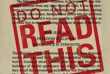 """Banned Books / Books that have been banned, challenged, or otherwise restricted. """"A book is a version of the world. If you do not like it, ignore it; or offer your own version in return."""" -Salman Rushdie"""