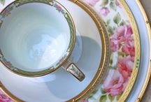 Pretty Plates, Tea Cups and Dishes / Pretty patterns, antique, elegant, vintage porcelain, china, pottery, stoneware and glass collection and displays