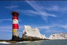 The Needles Lighthouse, Isle of Wight / The Needles Lighthouse was built by Trinity House in 1859 on the outermost of the chalk rocks near sea level. Constructed from granite, it stands 33.25 metres (109.1 ft) high and is a circular tower with straight sides.