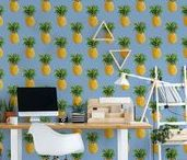Pineapple Fever I collection by Pixers / The Pineapple Fever collection is a surprising combination of trendy pineapple motifs with a color palette in a mid-century modern style. While a distinctive and powerful pineapple pattern awakens positive associations with summer, tropical landscapes and sun, the warm color palette refers to the classic era in interior design. Such prints match modern wooden furniture and create a welcoming and contemporary atmosphere - and not without reason.