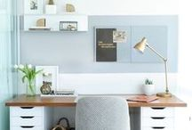 HOME OFFICE / I am an entrepreneur and work mainly form home. Here are some of my favorite inspiring, minimalist, efficient, beautiful home office spaces. I find them perfect for at home working space for entrepreneur, bloggers etc.  http://salwapetersen.com