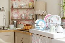 KITCHEN INSPIRATION / Kitchen Interior Inspiration. Including Cath Kidston designs, clean white bright open spaces and rustic counters.