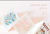 CARTES DE VŒUX LETTERPRESS / Cartes doubles imprimées en letterpress et dorure à chaud, livrées avec une enveloppe jaune vif. Illustrations originales pour LETTERPRESS DE PARIS