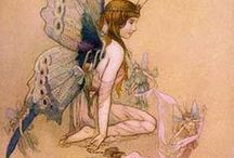 "Faeries Vintage / ""Fairies are invisible and inaudible like angels but their magic sparkles in nature.""  
