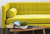 vibrant mid-century modern / Spring it on with vibrant colors in your living room to complement the blue skies and yellow blooms starting to appear outdoors.   Vivid velvets, natural woods and glam tones that make your living room a Bryghter place. / by Article