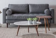 sleek gray monochrome / Create a cohesive, but engaging, space by layering neutral colors in different materials. Here, we've played with gray leather, velvet and weave.  / by Article