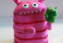 Monsters / Making cute felted craft monsters for children's toys with branding, labelling and logo ideas.