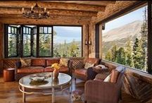 LIVING ROOMS / Some of the most beautiful Western living rooms and great rooms around, log style, timber frame and more!