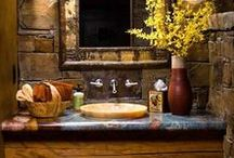 BATHROOMS / The perfect bathroom for the Western style home, or log home. . .and don't forget the cabin!