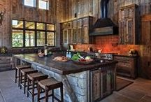 KITCHENS / Kitchens to dream about, for the Western style home, or log home. . .and don't forget the cabin!