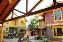 Intentional Communities: Cohousing & More / People who choose to live together, not necessarily related. Sustainable. Faith based sometimes. Cooperative. Cohousing, communes, coops & more!
