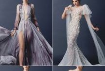 Вечерние платья разных цветов.