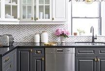 Kitchen Inspiration / Counters, backsplash, and sinks for dark cabinets.