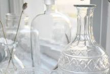 Bottles, jars & cloches / I love old jars and bottles in old, bubbly glass.