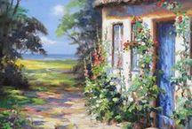 """Flensburg / Ich liebe die Gegend von Flensburg und Umgebung. Eine wunderschöne Landschaft, und überall der Blick auf's Wasser. Hier oben habe ich in der Roten Straße 16 meine Galerie im Norden - """"Galerie Bilder im Hof"""", sie verkauft meine Gemälde schon seit 20 Jahren."""