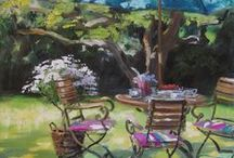 Garden Places / Der Garten, wie eine Malerin ihn sieht. Üppige Blüten und hier und da eine Sitzgelegenheit mit Blick in die Ferne. Gemälde mit Terrassen im Sommer an offenen Fenstern oder auch Motive, die bei mir im Garten entstehen...