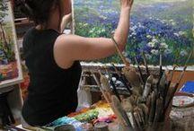 Daily Art Work / Fotos aus meinem Künstleralltag. Pinsel, das Mischen der Farben, Gemälde mit Skizzen vorbereiten und Aquarelle vor Ort malen. Bilder hin und her schleppen, firnissen und Studien anfertigen an den schönsten Stellen der Welt.