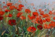 Red Poppies / Mohnblüten und Mohnfelder sind immer wieder bezaubernd - vielleicht weil sie so überraschend auftauchen? Für mich als Malerin immer wieder ein Grund direkt zur Farbe zu greifen!